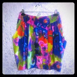 NWT📣VIBRANT Watercolors Midi Skirt w/Pockets!